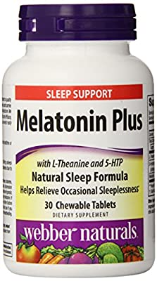 Sleep Calm L-Theanine 5HTP and Melatonin Chewable Tablets, Tropical Fruit Flavor, 30 Count