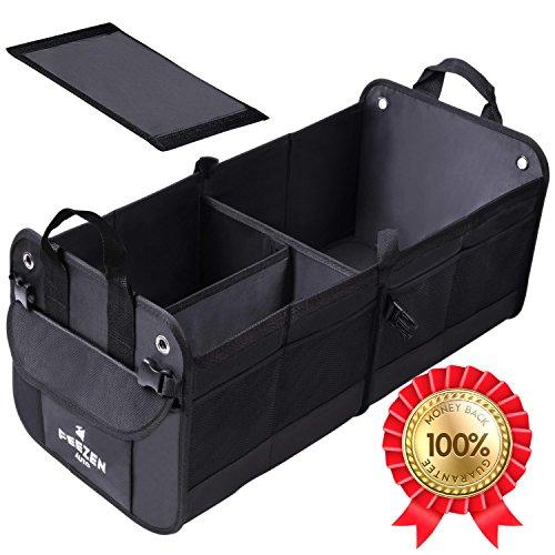 Feezen Car Trunk Organizer Best For Suv  Vehicle  Truck  Auto  Minivan  Home   Heavy Duty Durable Construction Non Skid Waterproof Bottom  Black