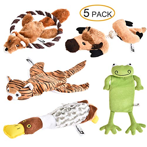 PetAmenity 5 Pack Premium Crinkle and Squeaky Plush Dog Toys, Stuffingless and Low Stuffing, Irresistible and Tough Dog Chew Toys for Small, Medium, Large Dogs