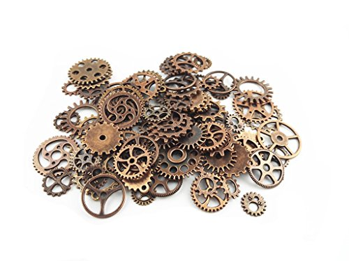 ST park Assorted Antique Steampunk Gears Charms Pendant Clock Watch Wheel Gear for Crafting, Jewelry Making Accessory,Assorted Colors (100 Gram/bag - Main St 100
