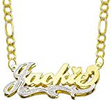 Win Jewelry 14K Two Tone Gold Personalized Double Plate 3D Name Necklace - Style 2 (20 Inches, White Pave Figaro Chain)
