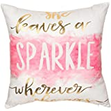 """Fjfz Gold Foil Print She Leaves a Sparkle Whereever She Goes Motivational Sign Inspirational Quote Cotton Linen Home Decorative Throw Pillow Case Cushion Cover Sofa Couch, 18"""" x 18"""""""