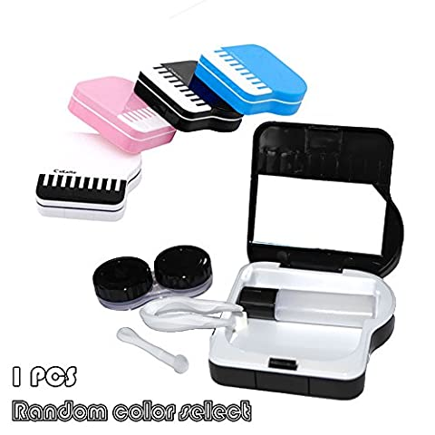 Iebeauty Portable Contact Lenses Case,Creative Elegant Mini Piano Contact Lenses Box Travel Eye Care Kit Holder (White Out Contact Lens)
