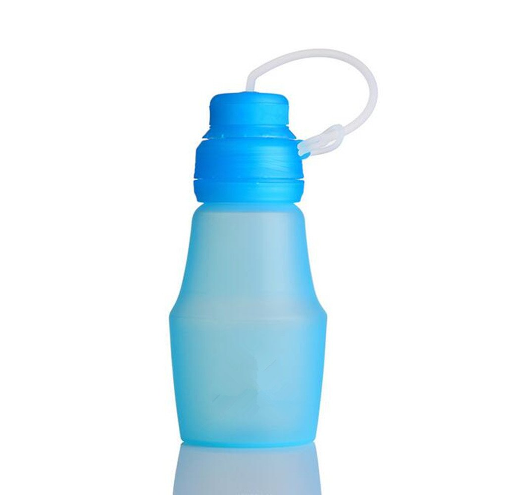 SHULING Wasser Cup Outdoor Tour Silikon Kleber Cup Portable Kinder Studenten Stoßfestigkeit, Wasserkocher Kampagne An Ihren Fingerspitzen, Becher Kunststoff Blau Fold, 600 Ml 7,8  20,4 Cm
