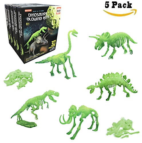 [5-Pack] Glow in the Dark Dinosaur Skeleton Puzzles, 10-Inch Archaeology Kit For kids (Assorted 5 Styles) - Glow In The Dark Dinosaur