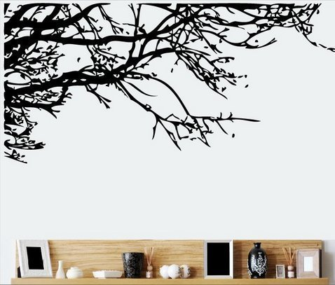 TRURENDI Stunning Tree Branch Removable Wall Art Sticker Vinyl Decal Mural Home Decor (DESIGN 1, 1) OneSize, Black