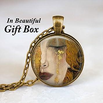 3d42dc812a53 Amazon.com: Gustav Klimt - Crying Woman Necklace Pendant Charm ...