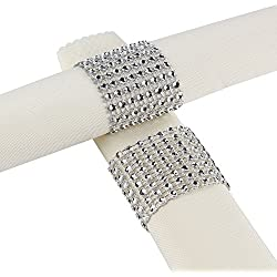 Aytai Rhinestone Mesh Bling Napkin Rings for Wedding Decoration, Plastic Chair Sash Bows,Napkin Holder for DIY Party Birthday Banquet Supply 5 x 1.6inch (50, Silver)