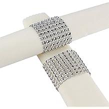 Aytai Rhinestone Mesh Bling Napkin Rings for Wedding Decoration, Plastic Chair Sash Bows,Napkin Holder for DIY Party Birthday Banquet Supply 5 x 1.6inch (50, Silver)