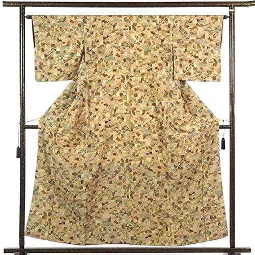 リサイクル小紋 / 正絹ベージュ地袷小紋着物 / レディース【裄Mサイズ】(古着 リサイクル着物 リサイクル品)【ランクB】