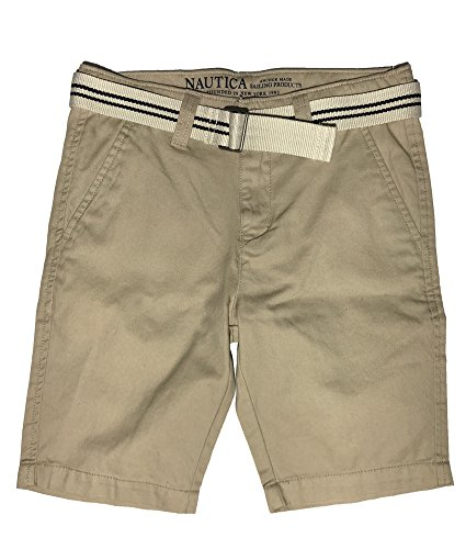 Nautica Boys Flat Front Belted Shorts, Sand Cove (12)