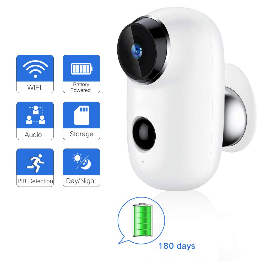 SDETER Outdoor Wireless Camera, WiFi Rechargeable Battery Powered Security Surveillance System, Hd IP CCTV Video House Monitor by SDETER