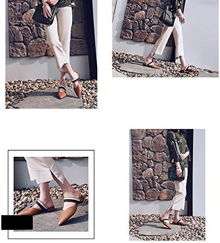 JIANXIN Été Sauvage En Cuir Fond Plat Talon Demi-pantoufle Femme Porter Mode Mules (Couleur : Marron, taille : EU 35/US 4.5/UK 2)