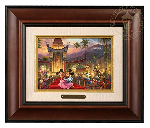 Thomas Kinkade Studios Disney Mickey and Minnie in Hollywood Brushwork (Burl Frame) ()