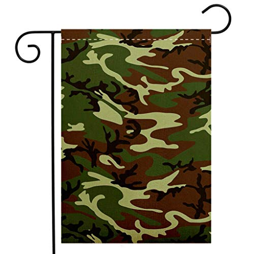 (BEIVIVI Creative Home Garden Flag Camo Classical American Commando Uniform Inspired Pattern Forest Tile Forest Green Light Green Brown Garden Flag Waterproof for Party Holiday Home Garden Decor)
