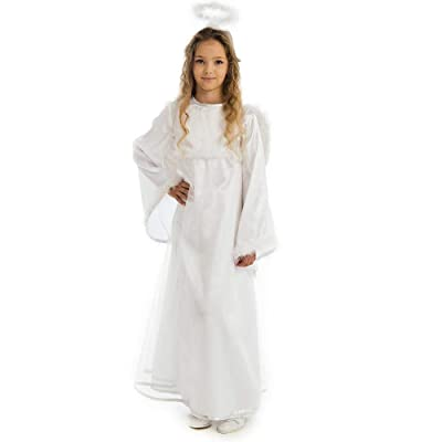 5'O Reet Guardian Angel Child Costume with Halo, Dress & Wings - Outfit for School, Christmas, Halloween & Cosplay Parties White: Clothing