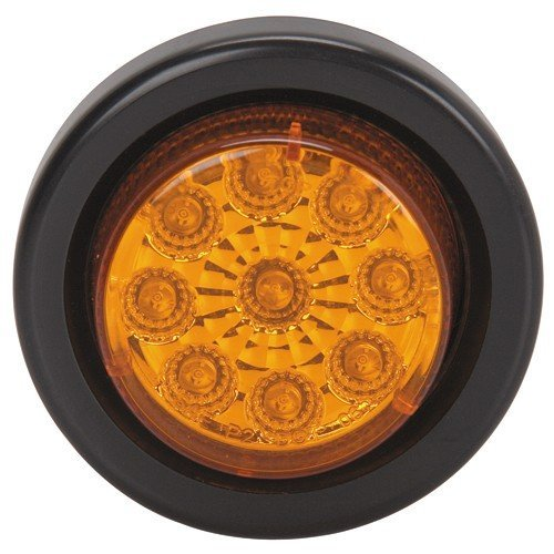 2 Inch Submersible Round Marker Light Kit - Amber; Includes Flush Mount Rubber Grommet, 9 Leds and 6
