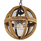 Brinley Home 18 inch Hard Wired Wood Iron Acrylic Chandelier