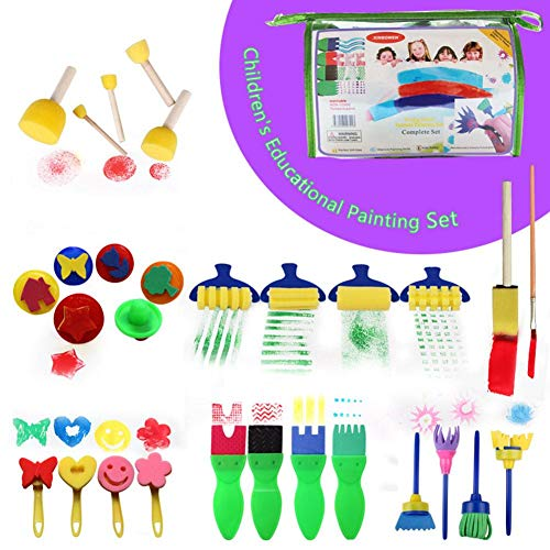 29 PCS Paint Sponges for Kids Painting Foam Sponge Brush Tools Kids Sponge Painting Brushes Painting Brushes Kits with Develop Kids' Imagination and Hands-on Ability 9.16.73.1in
