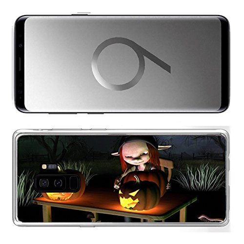 Liili Samsung Galaxy S9 Plus Clear case Soft TPU Rubber Silicone Bumper Snap Cases IMAGE ID 32913908 Little goblin carving spooky Halloween pumpkin lanterns with dark Halloween background 3d
