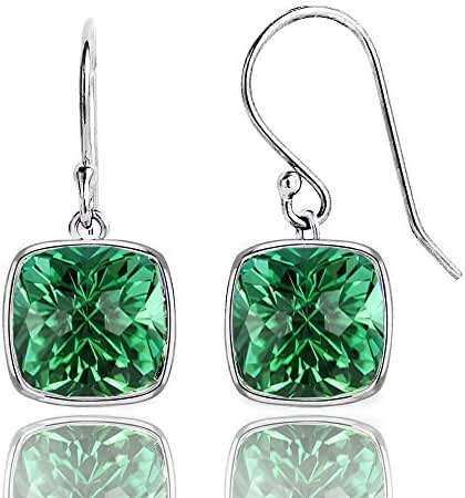 4.00 CTW Simulated Green Emerald Cushion Cut Drop Earrings in Sterling Silver