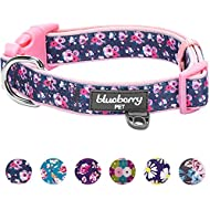 """Blueberry Pet 6 Patterns Soft & Comfy Rose Prints Baby Pink Girly Padded Dog Collar, Medium, Neck 14.5""""-20"""", Adjustable Collars for Dogs"""