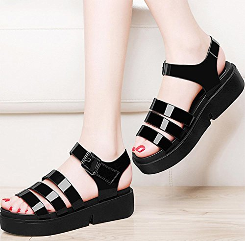 de las mujeres sandalias de verano pendiente con sandalias de playa zapatos de fondo grueso Black