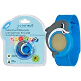 All Natural Mosquito Repellent Cartoon Slap Bracelet For Kids, Best Safe Bug & Insect Repellents By Essencell - DEET FREE, Waterproof, No Spray +2x Refills - Protection up to 30 days - Blue Dolphin