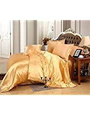 """Dhruvi Bedding Hotel Quality 100% Silky Satin 5 Piece Comforter Sheet Set (Box Stitched Pattern Comforter + Fitted Sheet 18"""" Deep Pocket + Flat Sheet + 2 Pillow Cover)"""