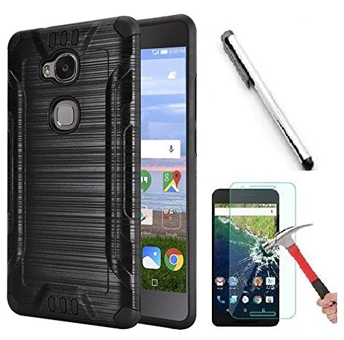 Luckiefind Compatible with Huawei Sensa 4G LTE (Straight Talk)/Honor 5X, Brushed Metal Metallic Finish Slim Fit Shock Impact Dual Layer Protection Hybrid TPU Hard Case (Brush Black)