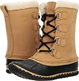 SOREL Women Caribou Slim Waterproof Mid Duck Boots, Curry/Black White 8