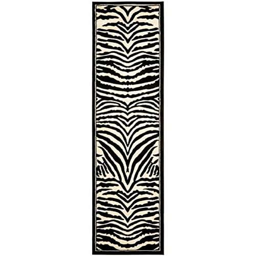 Safari Zebra Skin Patterned Area Rug, Bright Exotic Wild Jungle Cats Skin Themed, Runner Indoor Hallway Doorway Living Area Bedroom Carpet, Modern Animal Lovers Design, White, Black, Size 2'3 x 8'