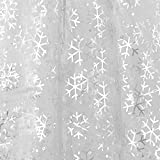 Deconovo Tablecloth Organza Glittering DIY Fabric Sheer Tree Skirt for Kids Birthday Party Kids Birthday Wedding Party Decorations Snowflake 59W x 118L Inch