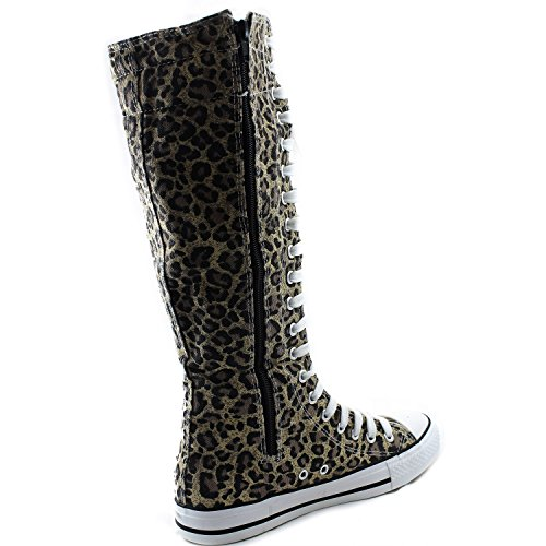 Mi-mollet Genou Haute Femme Bottes Tall Classique Toile Ciel Haute Lace Up Élégant Punk Plat Sneaker Bottes Léopard