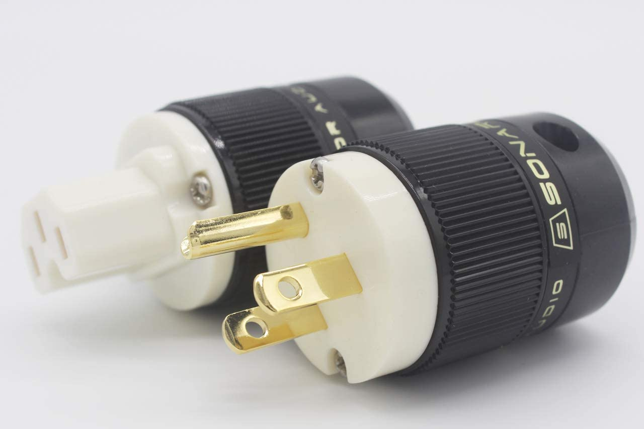 SONAR QUEST Standard Edition 24K Gold Plated US Power Plug /& IEC Connector Set AC Power for HiFi Audio W SE-GP+GC