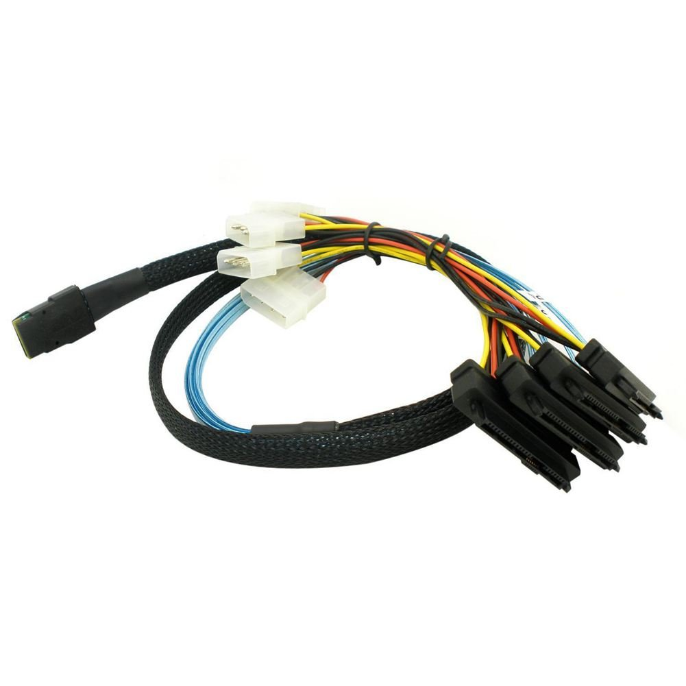 SODIAL(R) 1M Mini SAS 36P SFF-8087 to SFF-8482 power x 4 SAS Cable