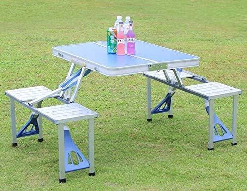 8HAOWENJU Al Aire Libre Que acampa Portable de la Comida campestre for sillas de Mesa Plegable integrada Establece sillas de Escritorio Set (Color : Light Blue)