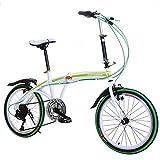 "Cnlinkco 20""Folding Bike Compact 6 Speed Bicycle Green"