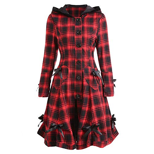 Leoy88 Womens Steampunk Lace Up Hooded Trench Coat Jacket Blazer Tops Plaid Outwear