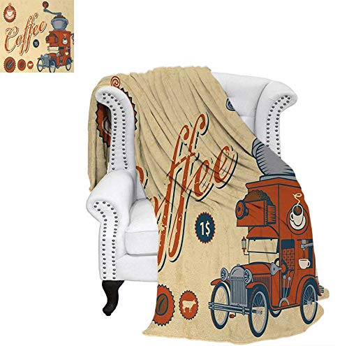 Coffee Grinder Peach (Custom Design Cozy Flannel Blanket Artsy Commercial Design of Vintage Truck with Coffee Grinder Old Fashioned Lightweight Blanket 70
