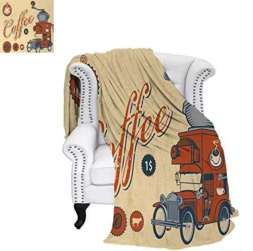 Lightweight Blanket Artsy Commercial Design of Vintage Truck with Coffee Grinder Old Fashioned Digital Printing Blanket 50