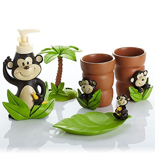 Amazon.com: Brandream 5 Piece Cute Monkey Bathroom Set Adults Kids Bathroom  Accessories Set Resin: Home U0026 Kitchen
