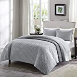White Full Size Bedroom Set Comfort Spaces Kienna 3 Piece Quilt Coverlet Bedspread Ultra Soft Hypoallergenic Microfiber Stitched Bedding Set, Full/Queen, Gray
