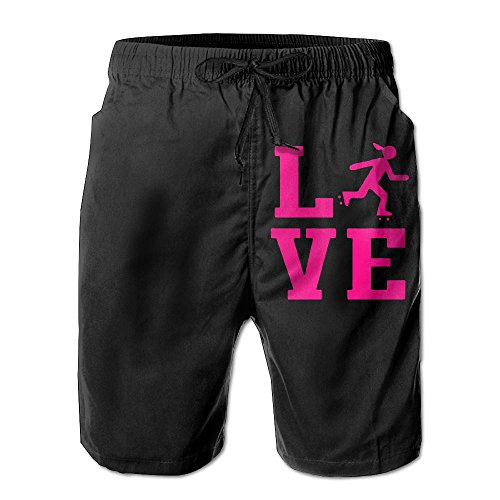 Love Roller Derby Mens Lightweight Boardshorts Dry Fit Swimming Shorts with Pockets