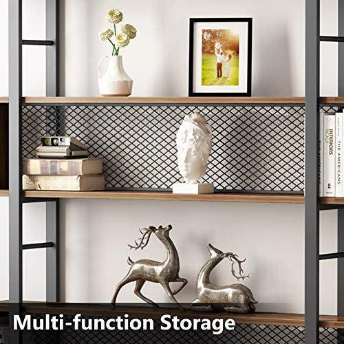 Tribesigns 5-Shelf Bookshelf with Metal Wire, Vintage Industrial Bookcase Display Shelf Storage Organizer with Metal Frame for Home Office, 47.2'' L x 9.4'' D x 71'' H (Retro Brown) by Tribesigns (Image #5)
