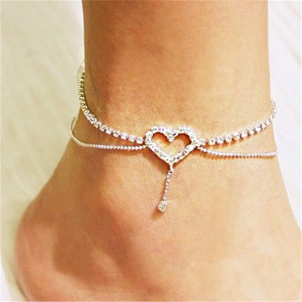 Silver Diamante chain anklet with silver star extension Holidays etc UK SELLER