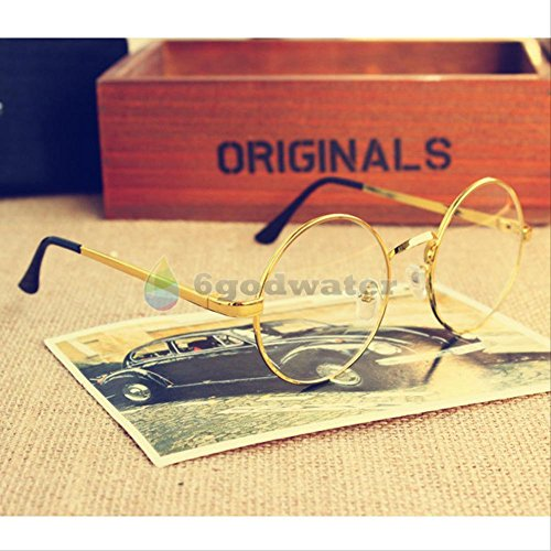 2016 most popular glasses Cosplay Glasses Spectacles Round Eyewear Gold (Jelly Bean Halloween Costume)