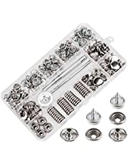 AIEX Canvas Snaps Kit, Stainless Steel Fastener Screw Snaps for Furniture Canvas Marine Grade Boat Cover Snap Silver Metal Snap Button Kit with Setting Tool