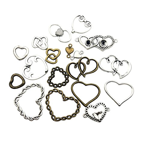100g (about 60pcs) Craft Supplies Antique Bronze Antique Silver Heart Valentine Charms Pendants for Crafting, Jewelry Findings Making Accessory For DIY Necklace Bracelet (Heart Connector Spacer) (Heart Silver Metal)
