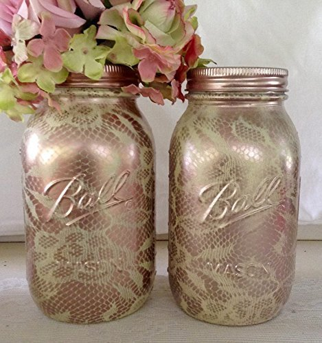 Amazon set of 2 ivory and rose gold lace pattern painted mason set of 2 ivory and rose gold lace pattern painted mason jars centerpiecesbaby shower junglespirit Image collections